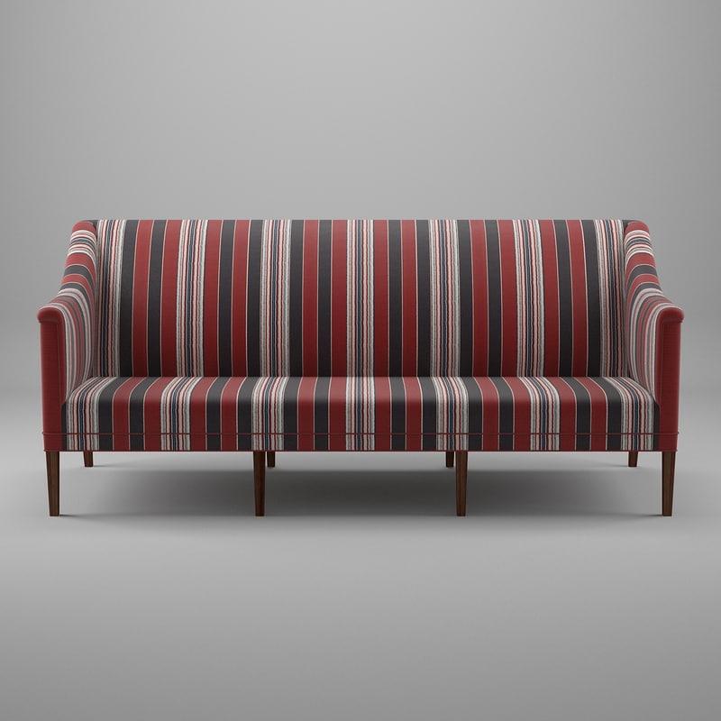 3d model kk60921 greek sofa 3 seater