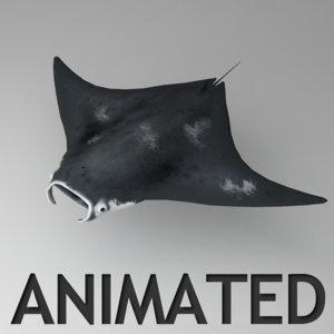 rigged manta animation 3d max