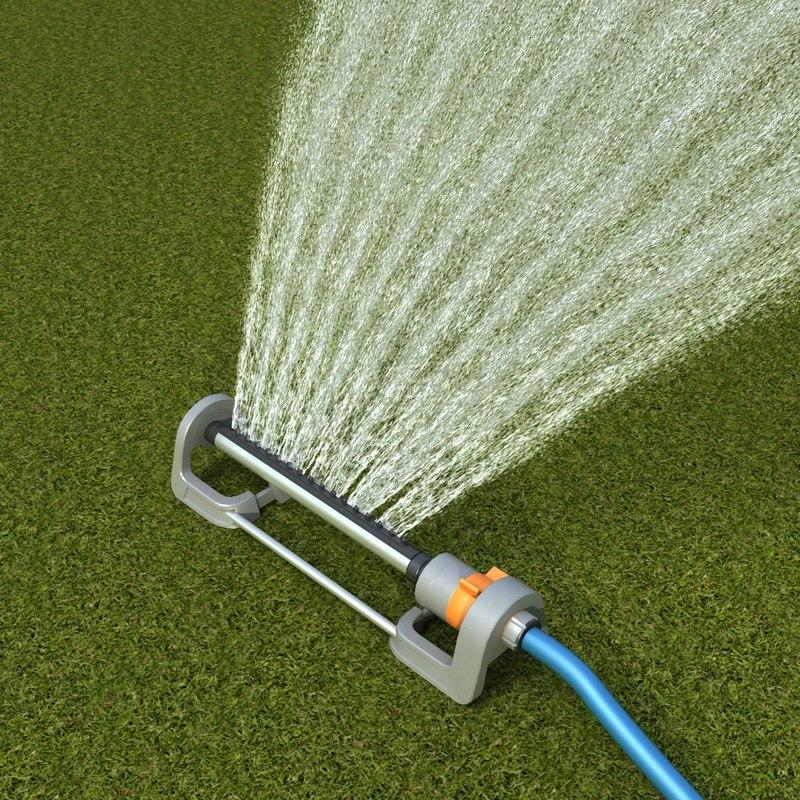 3d grass sprinkler model