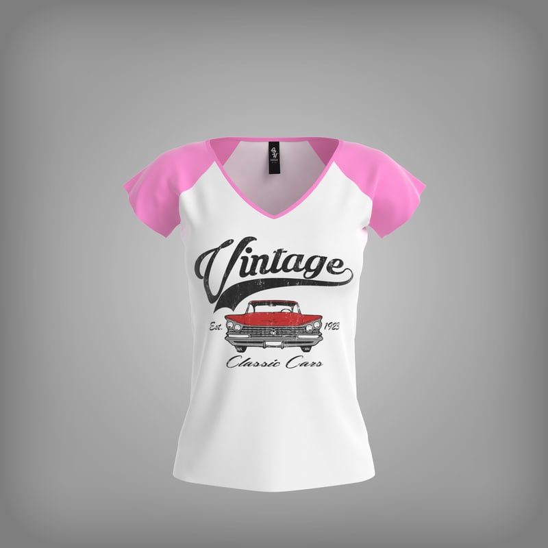 v-neck shirt women 3d model