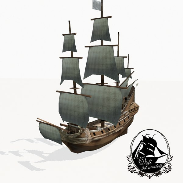 3d medieval galleon model