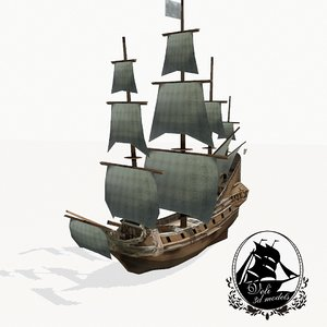 3d medieval galleon model