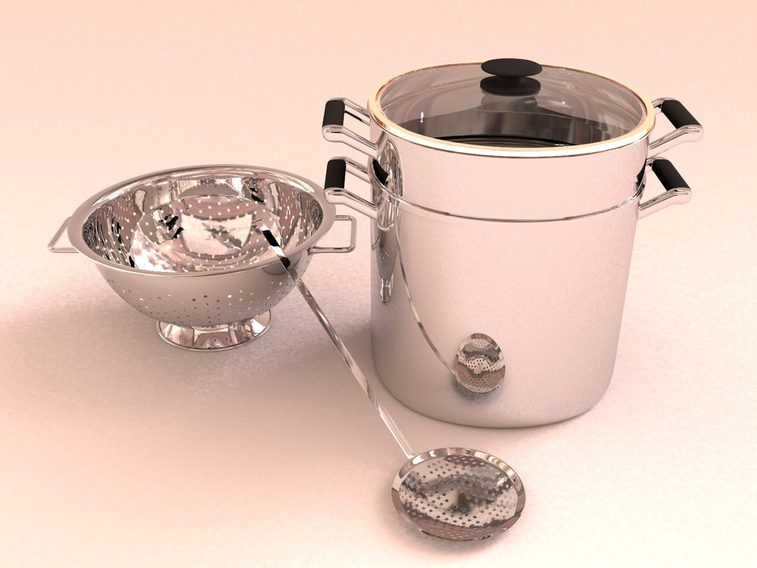 3d model stainless cooking pot