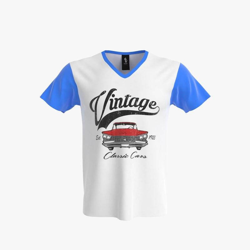 v-neck shirt men 3d model