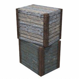 large medieval wood crate 3d model