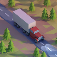 Lowpoly truck on a highway