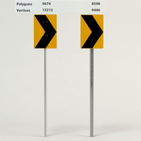 3d model right sign caution road