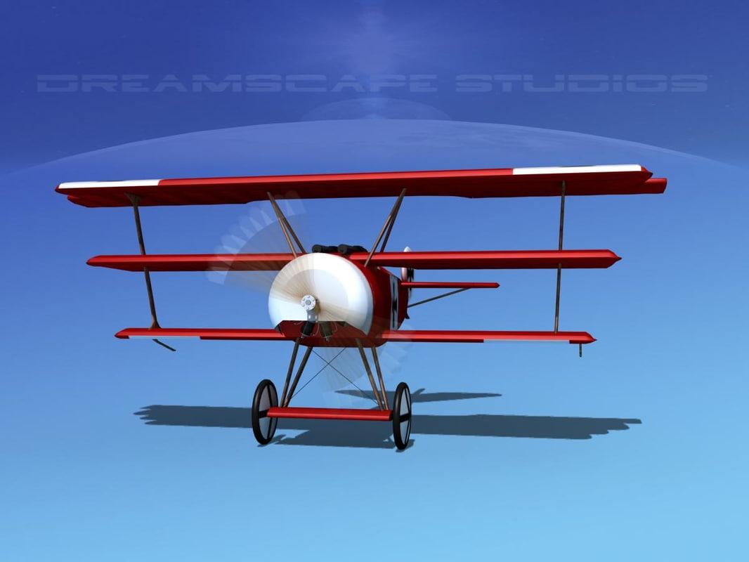 3d triplanes fokker dr-1 fighter model