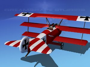 triplanes fokker dr-1 fighter 3d model