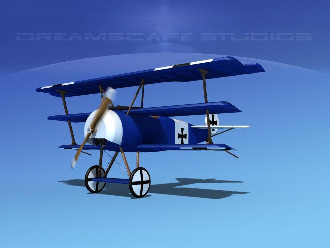 triplanes fokker dr-1 fighter 3d model