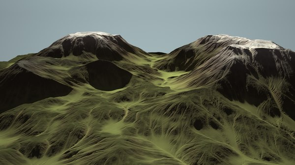 alien eroding landscape mountain 3d model