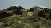 alien eroding landscape mountain 3d model