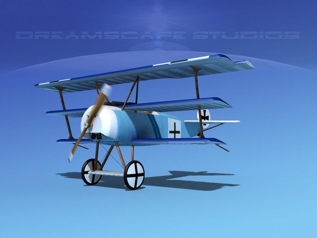 3d model triplanes fokker dr-1 fighter
