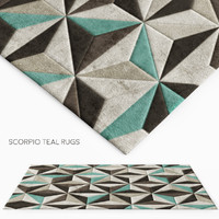 3d model rug scorpio teal