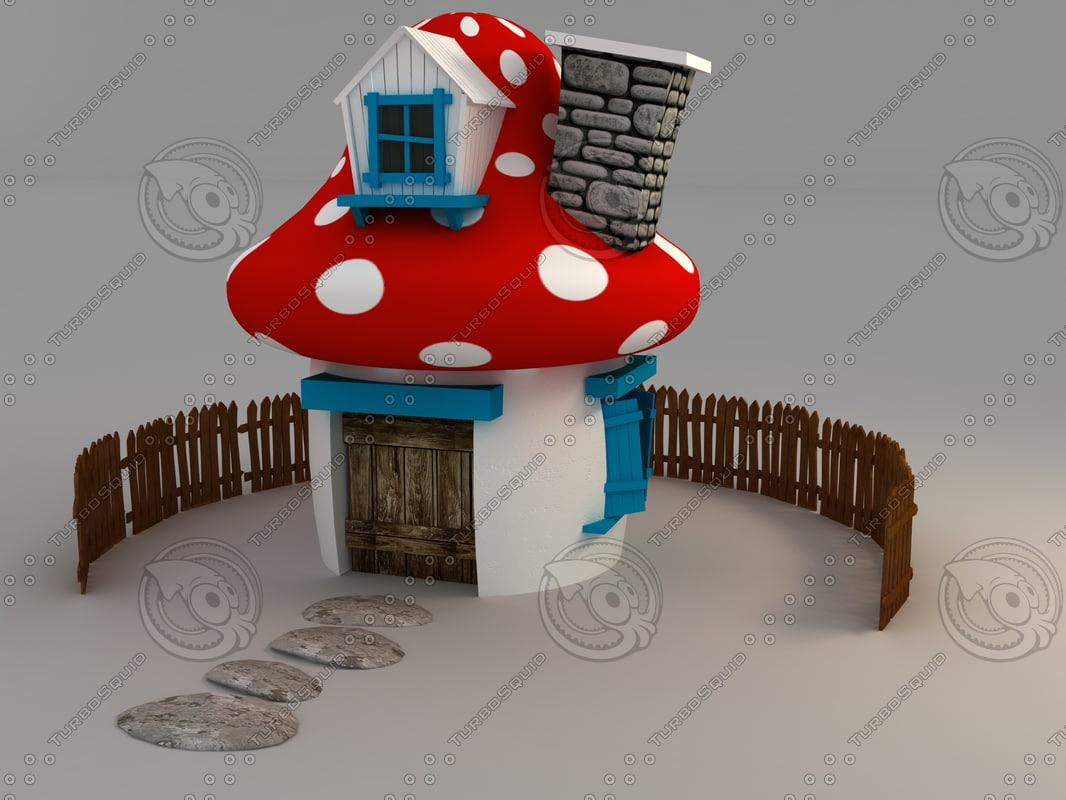 mushroom house cartoon 3d model