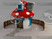 mushroom cartoon 3d house
