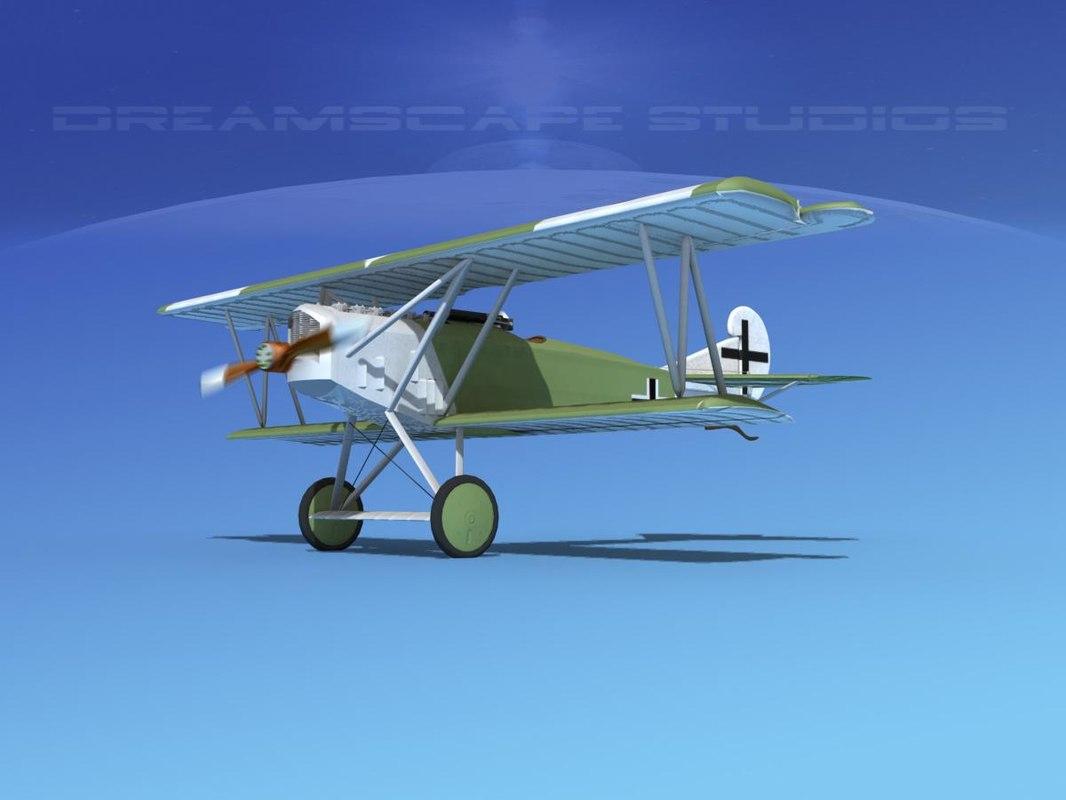 3d model fokker dvii fighter luftwaffe
