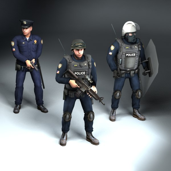 3d set rigged police