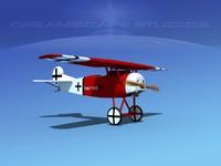 fokker dviii fighters 3d model
