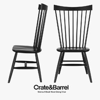 Crate & Barrel - Marlow II Black Wood Dining Chair