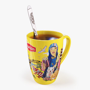 3d japanese lipton cup spoon model