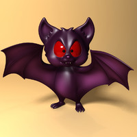 Cartoon Bat rigged and animated