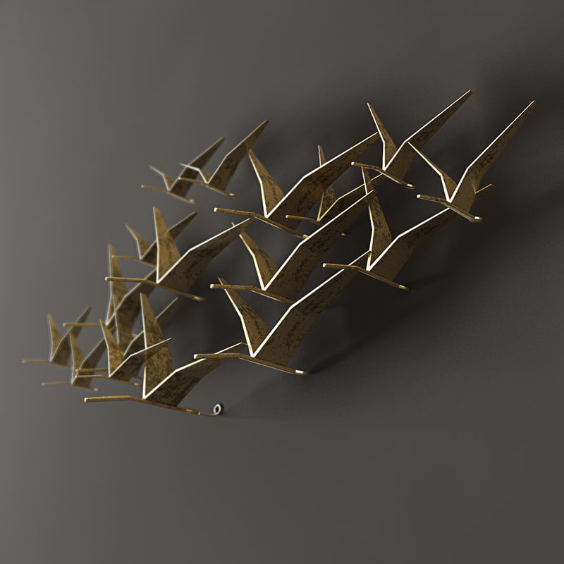 gold leafed seagull 3d 3ds