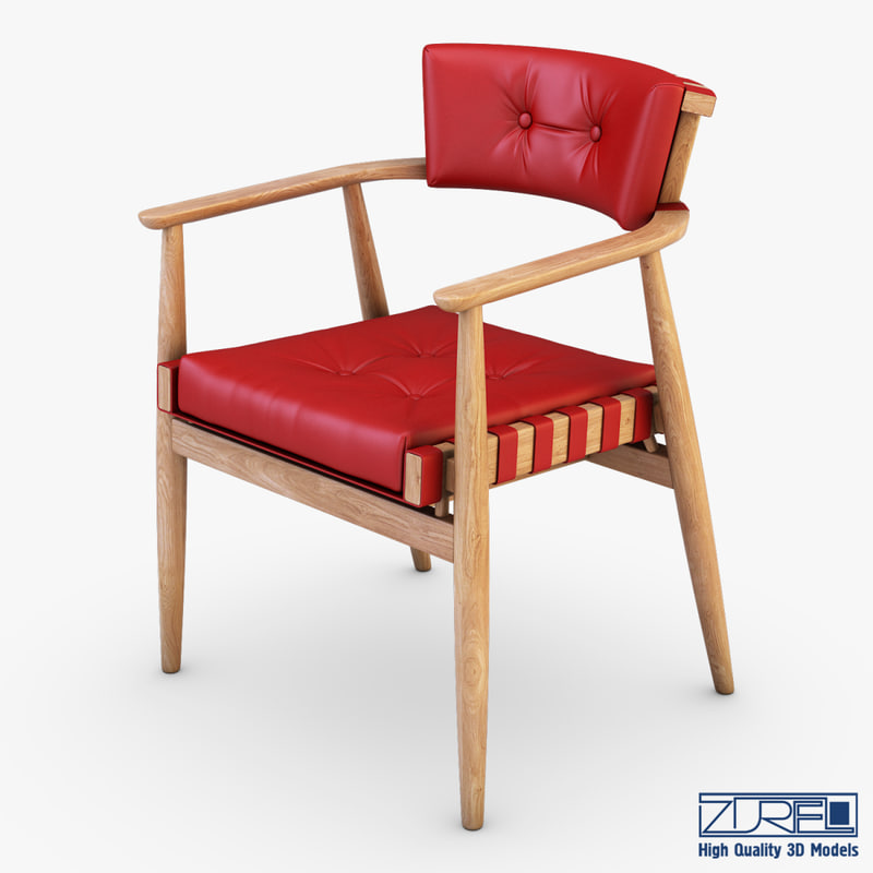 3d leather chair red model