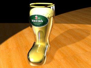 3d max tankard beer boot