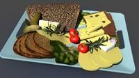 3d model of breakfast bread food