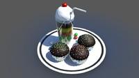 cupcake cake ice 3d ma