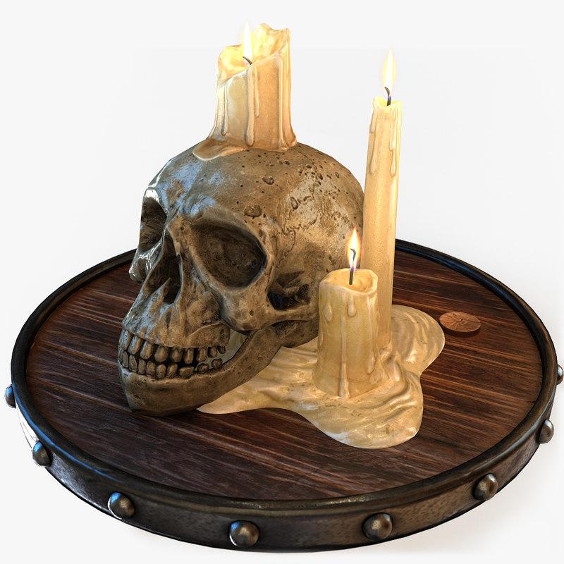 3d model candles skull light