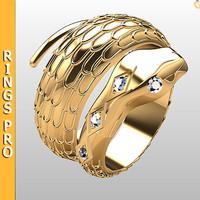 3d ring gold fashion model