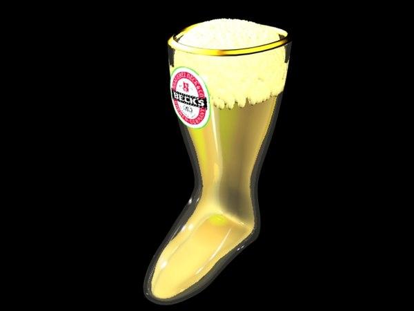beck beer boot women 3d model