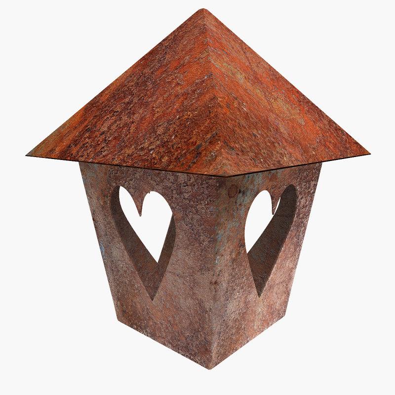 3d model rusted lantern heart design