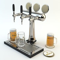 High Poly models ready for Bar, Pub or Restaurant scene: Beer tower, beer glass, tray and beer mat