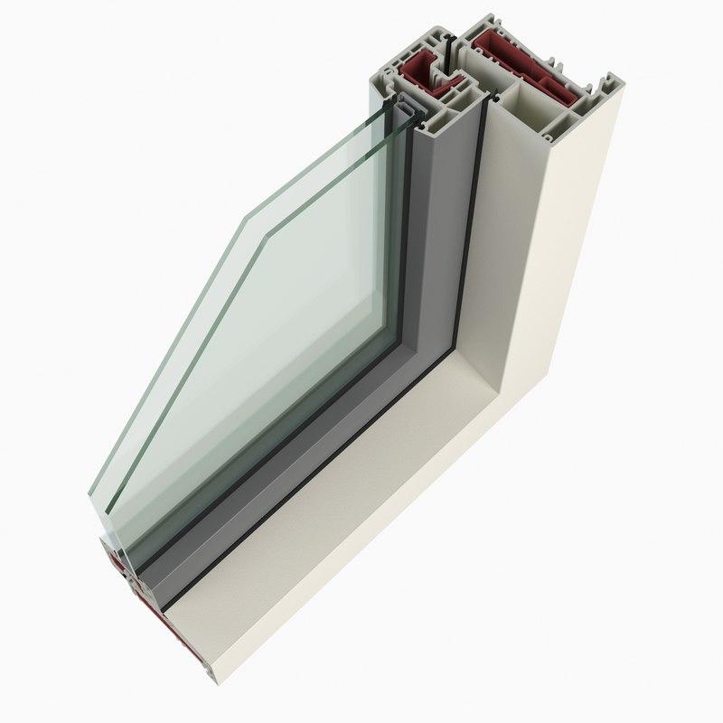 3d plastic window profile cutaway model