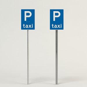 3d model taxi sign parking