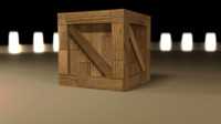 low-poly wooden crate blend