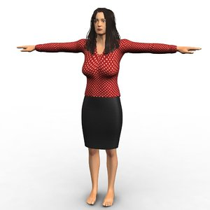 realistic corporate lady woman 3d model