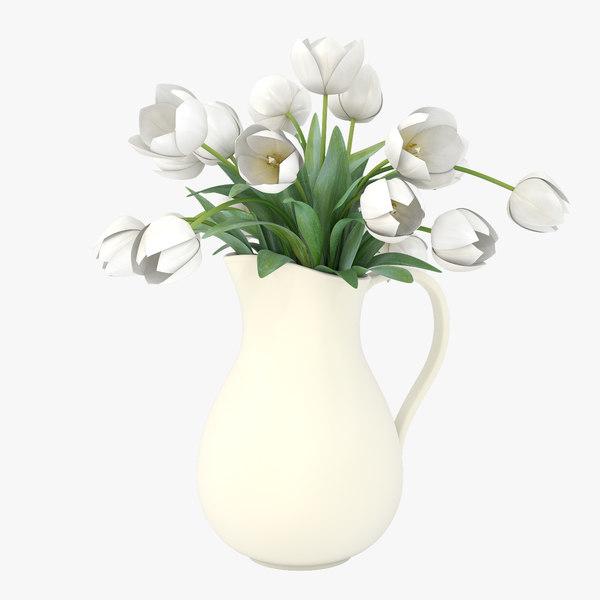 3d model white tulips vase