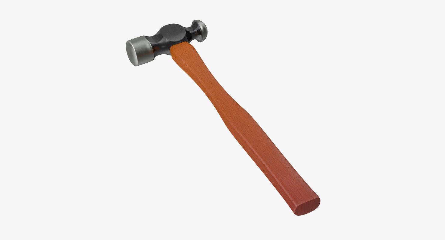 3d model ball peen hammer