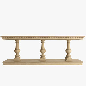 15th oak console table 3d max