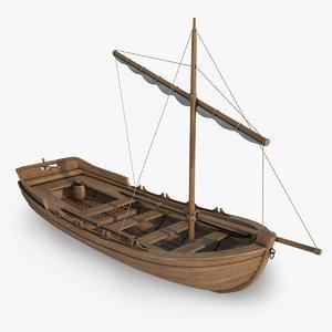 medieval sailing boat 3d model