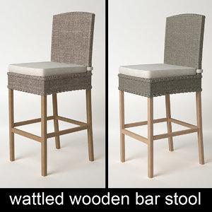 wooden wattled bar stool 3d model
