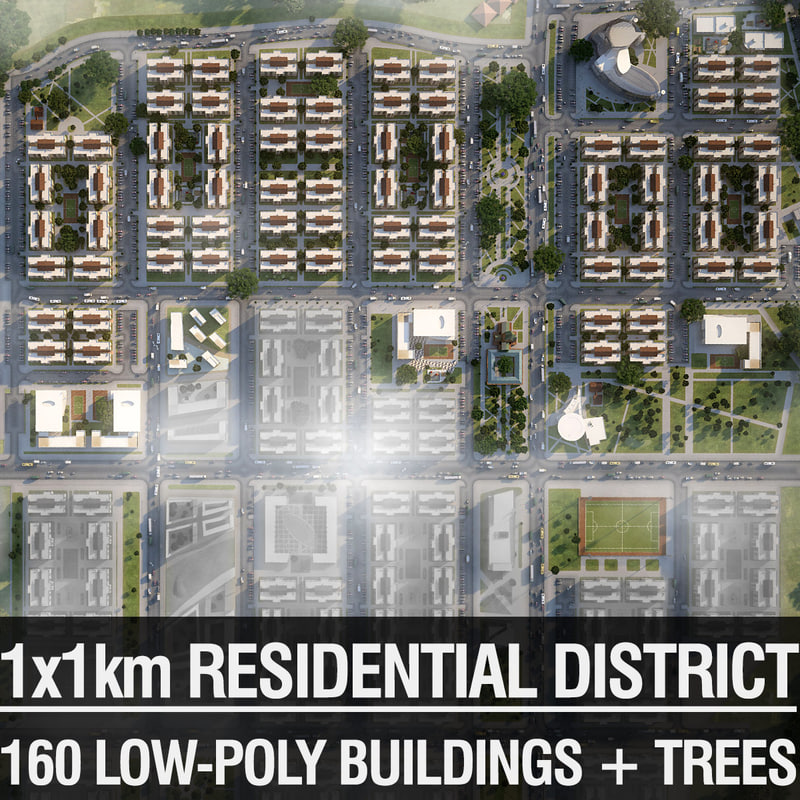 3d model residential district houses