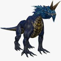 3d rigged blue fantasy monster