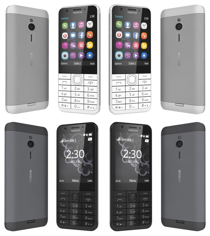 nokia 230 black white 3d model