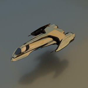3d gunship spaceship model