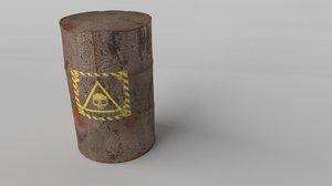 3d model rusty barrel toxic